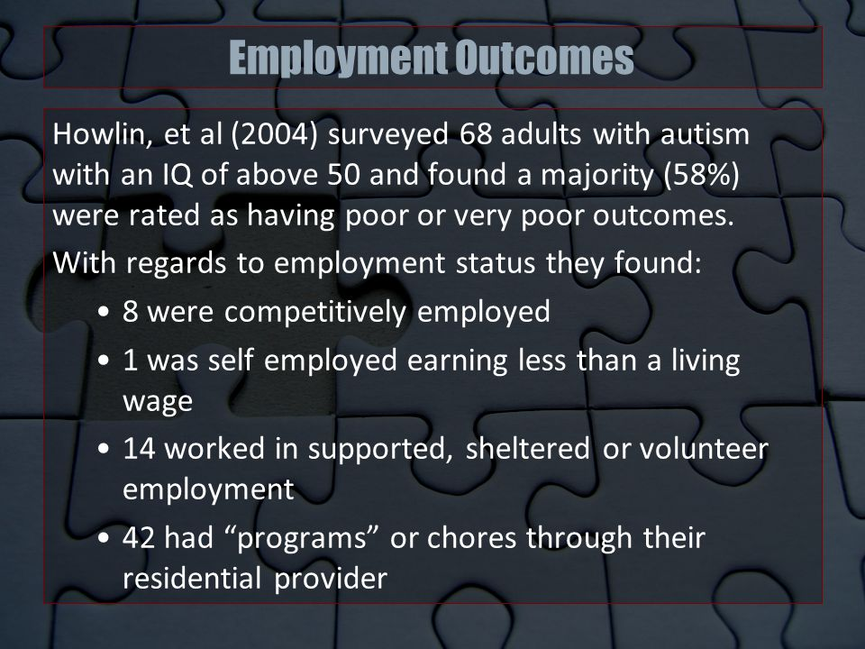 Employment Outcomes Howlin, et al (2004) surveyed 68 adults with autism with an IQ of above 50 and found a majority (58%) were rated as having poor or very poor outcomes.