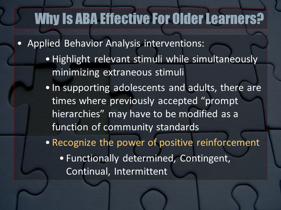 Why Is ABA Effective For Older Learners.
