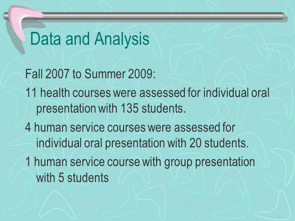 Data and Analysis Fall 2007 to Summer 2009: 11 health courses were assessed for individual oral presentation with 135 students.
