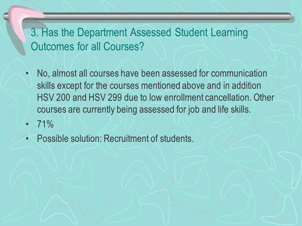 3. Has the Department Assessed Student Learning Outcomes for all Courses.