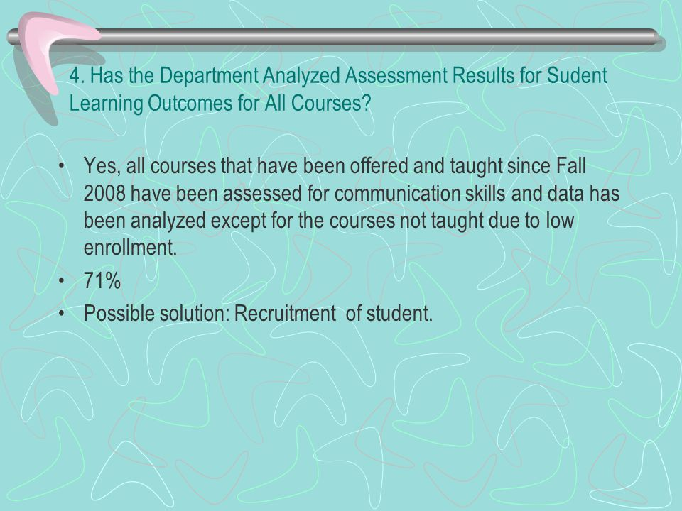 4. Has the Department Analyzed Assessment Results for Sudent Learning Outcomes for All Courses.