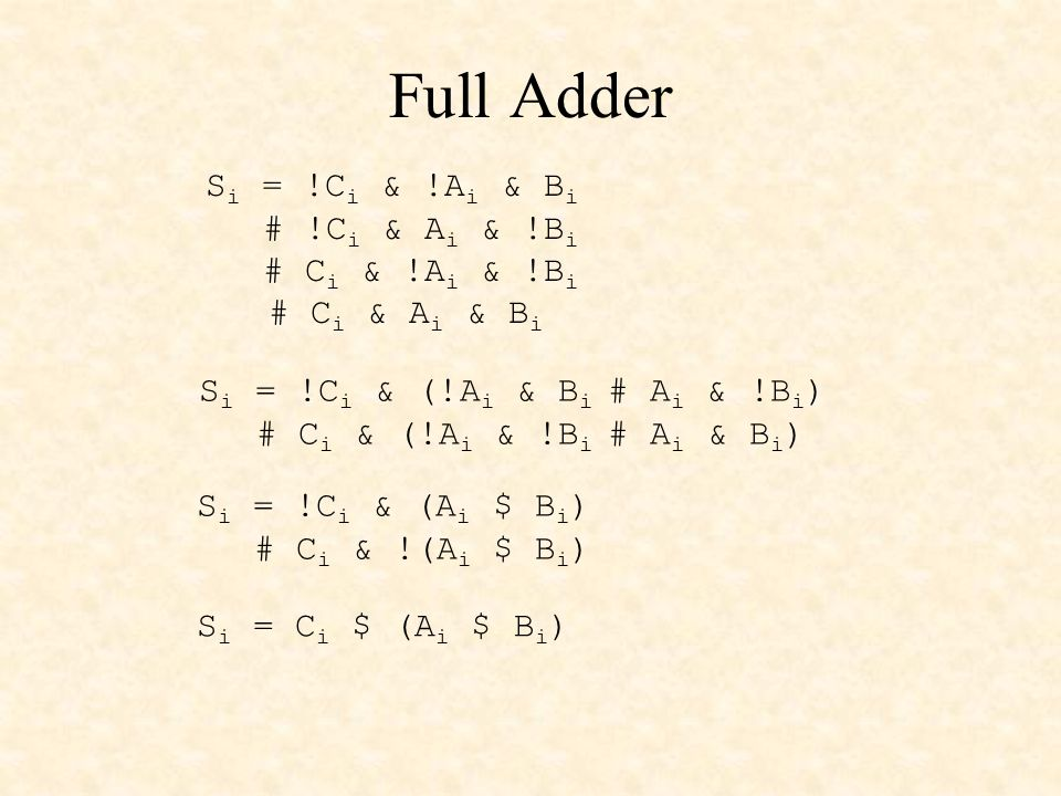 adder.abl (cont'd) S i = C i $ (A i $ B i ) C i+1 = A i & B i # C i & (A i $ B i ) EQUATIONS C0 = 0; zero carry in S = A $ B $ Cin; sum output Cout = A & B # (A $ B) & Cin; carry output vector CF = C4; carry flag OVF = C4 $ C3; overflow flag END adder4