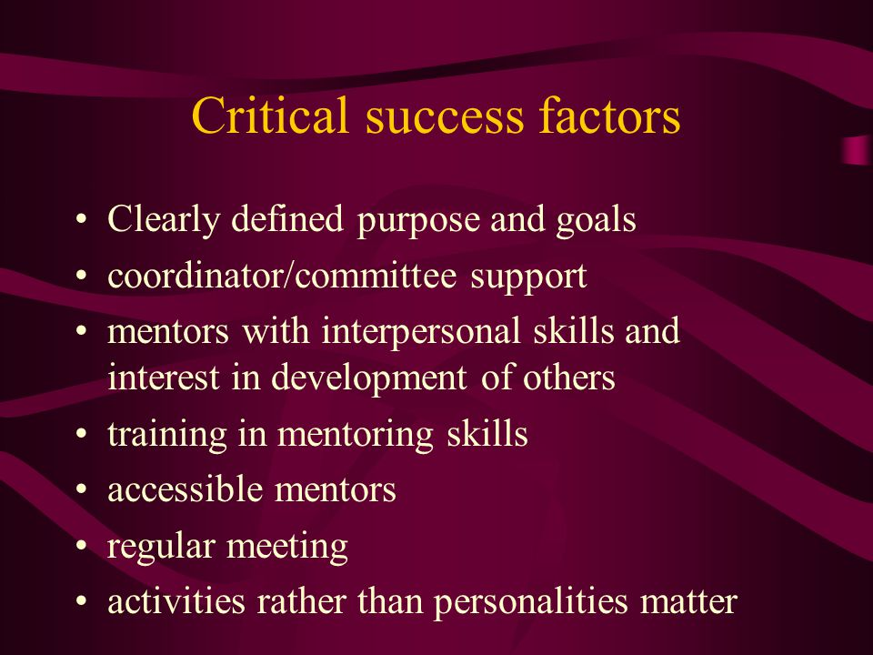Critical success factors Clearly defined purpose and goals coordinator/committee support mentors with interpersonal skills and interest in development of others training in mentoring skills accessible mentors regular meeting activities rather than personalities matter