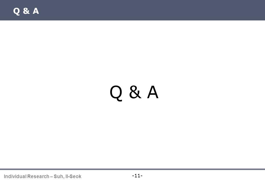 -11- Individual Research – Suh, Il-Seok Q & A