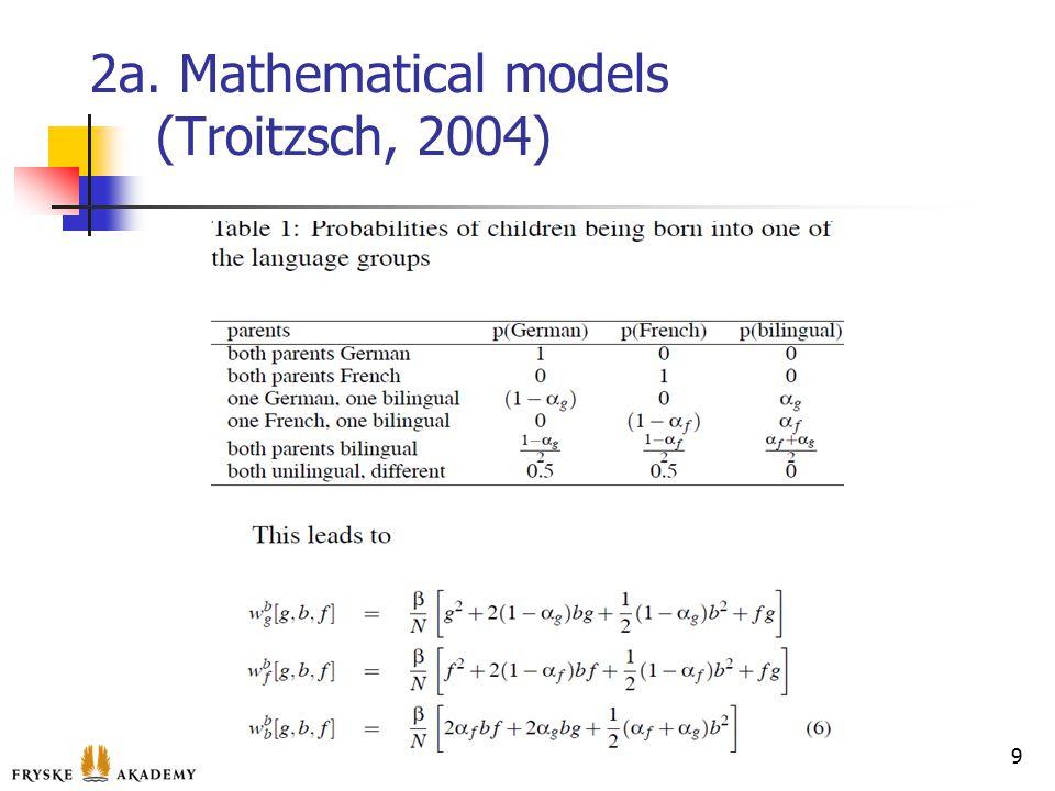 2a. Mathematical models (Troitzsch, 2004) 9