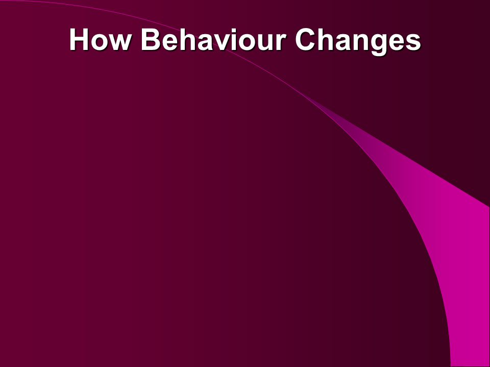 How Behaviour Changes