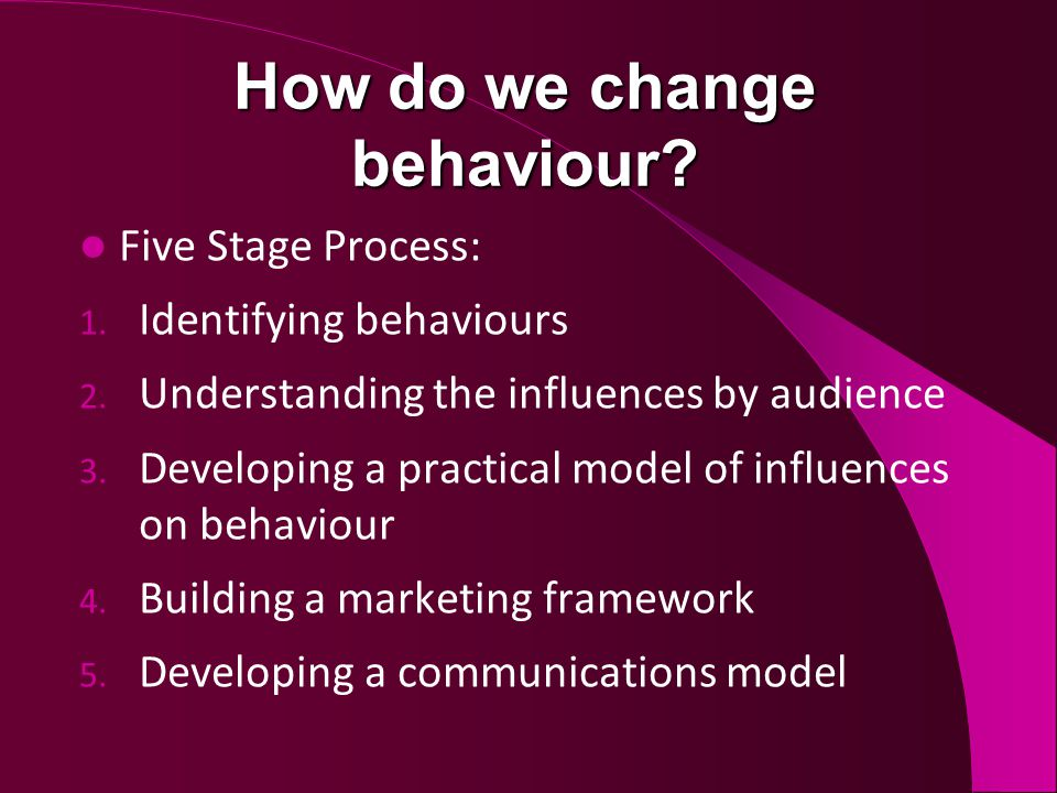 How do we change behaviour. Five Stage Process: 1.