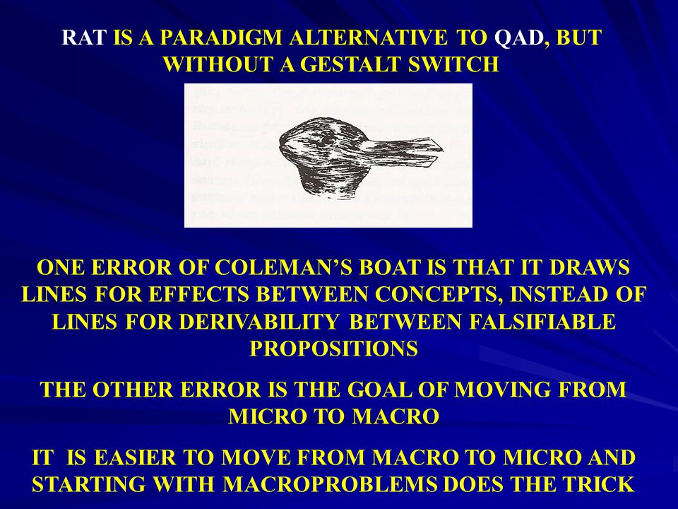 RAT IS A PARADIGM ALTERNATIVE TO QAD, BUT WITHOUT A GESTALT SWITCH ONE ERROR OF COLEMAN'S BOAT IS THAT IT DRAWS LINES FOR EFFECTS BETWEEN CONCEPTS, IN