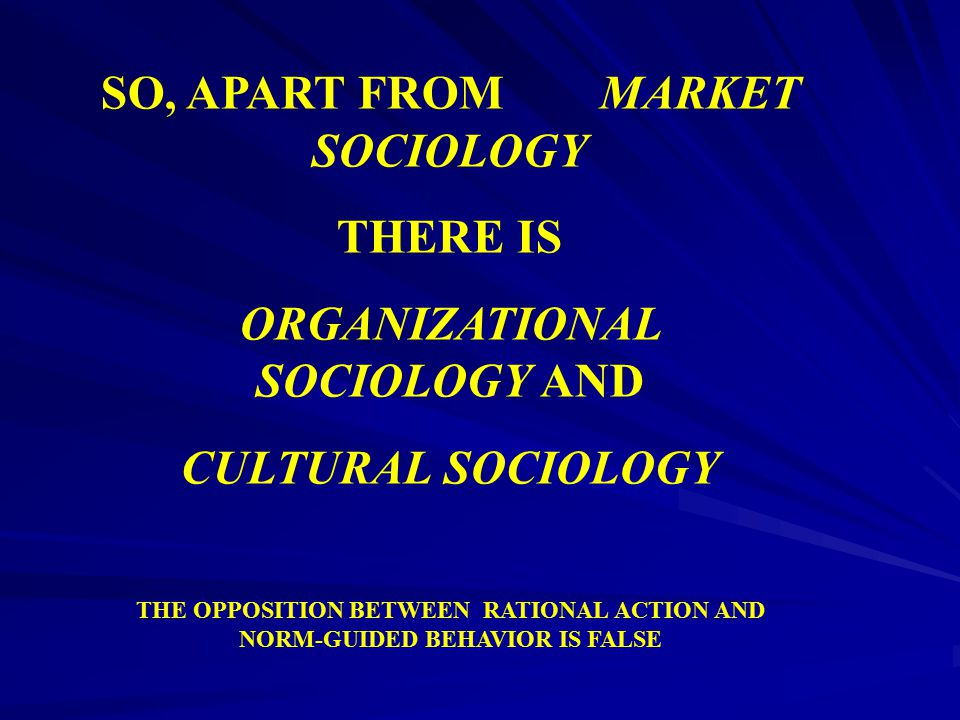 SO, APART FROM MARKET SOCIOLOGY THERE IS ORGANIZATIONAL SOCIOLOGY AND CULTURAL SOCIOLOGY THE OPPOSITION BETWEEN RATIONAL ACTION AND NORM-GUIDED BEHAVI