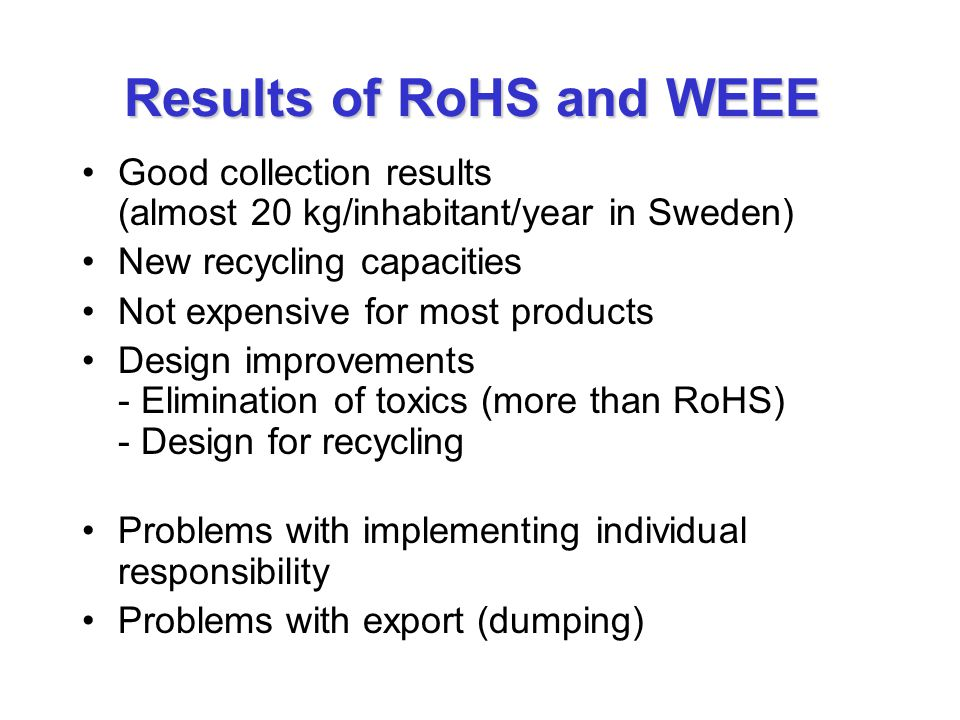 Results of RoHS and WEEE Good collection results (almost 20 kg/inhabitant/year in Sweden) New recycling capacities Not expensive for most products Des