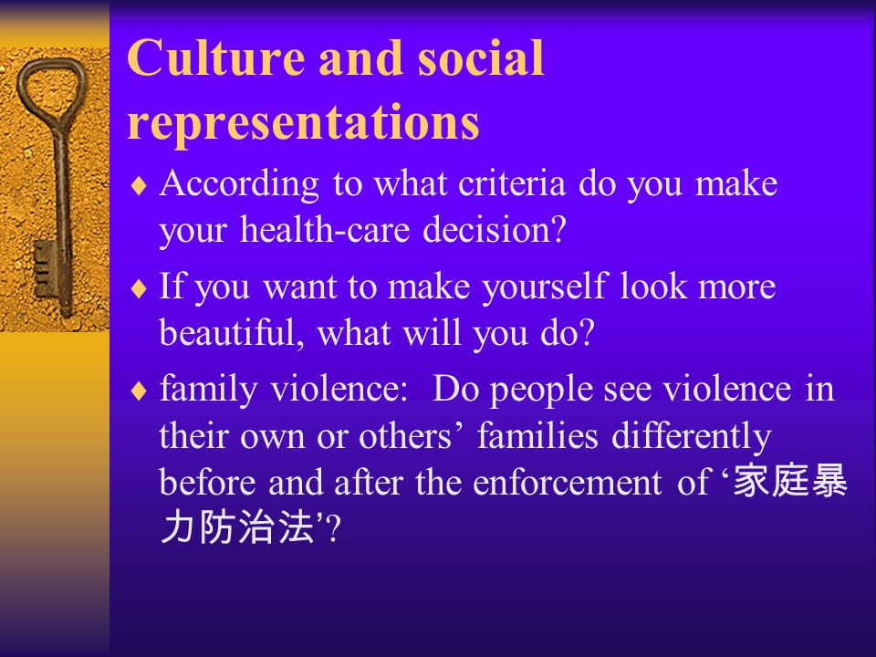 Culture and social representations  Social representation:  1. a class of psychic and social phenomena that relate the individual to the social aspe