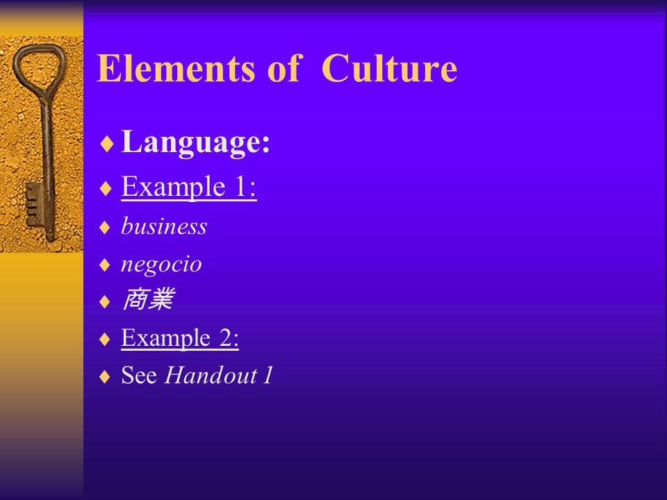 Elements of Culture  Language:  Whorf-Sapir hypothesis:  The language we learn in the community where we are born and raise shapes and structures o