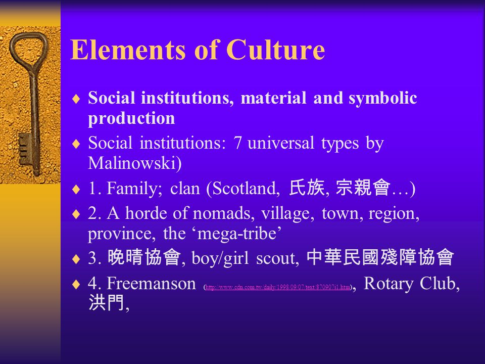 Elements of Culture  Language:  Example 1:  business  negocio  商業  Example 2:  See Handout 1