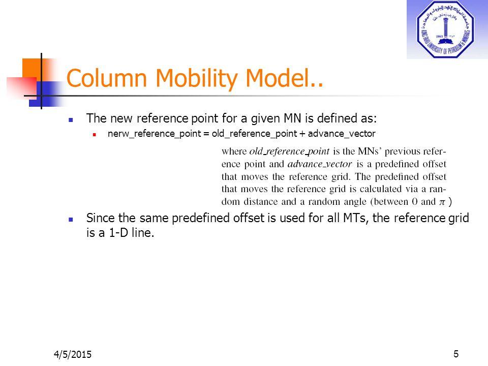4/5/20155 Column Mobility Model..