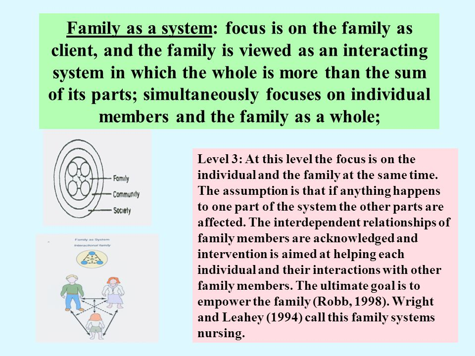 Family as a system: focus is on the family as client, and the family is viewed as an interacting system in which the whole is more than the sum of its