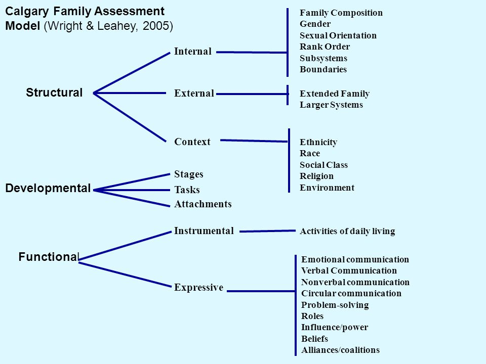Calgary Family Assessment Model (Wright & Leahey, 2005) Structural Internal External Context Developmental Stages Tasks Attachments Functional Instrum