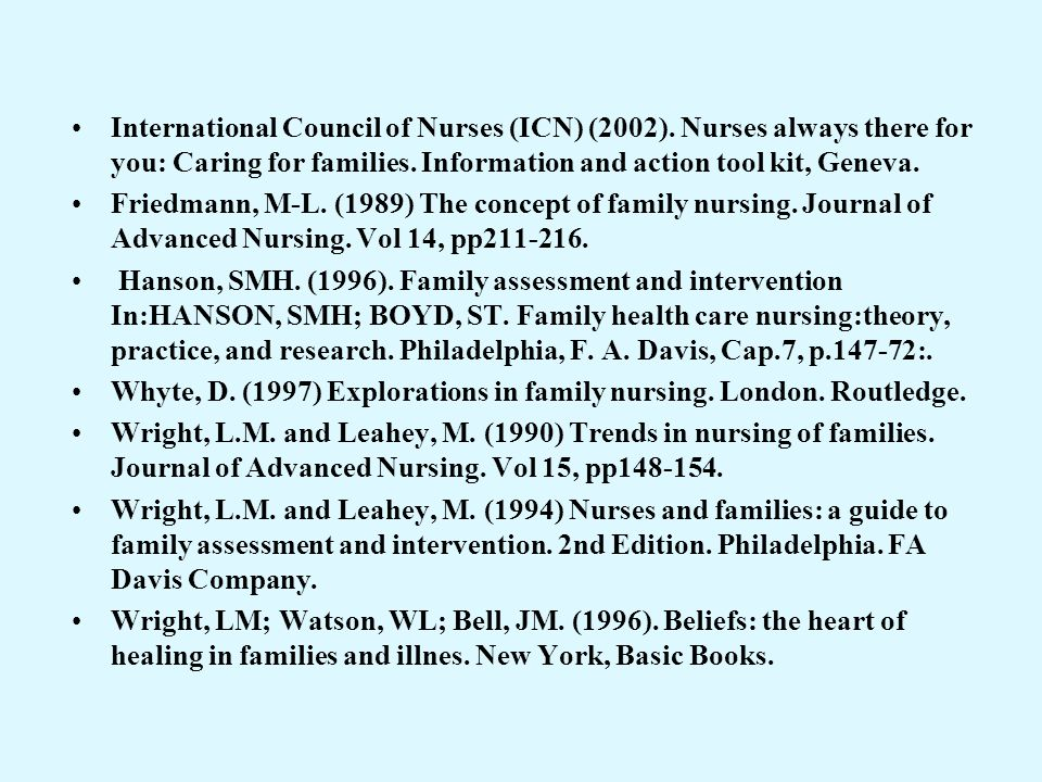 International Council of Nurses (ICN) (2002). Nurses always there for you: Caring for families. Information and action tool kit, Geneva. Friedmann, M-