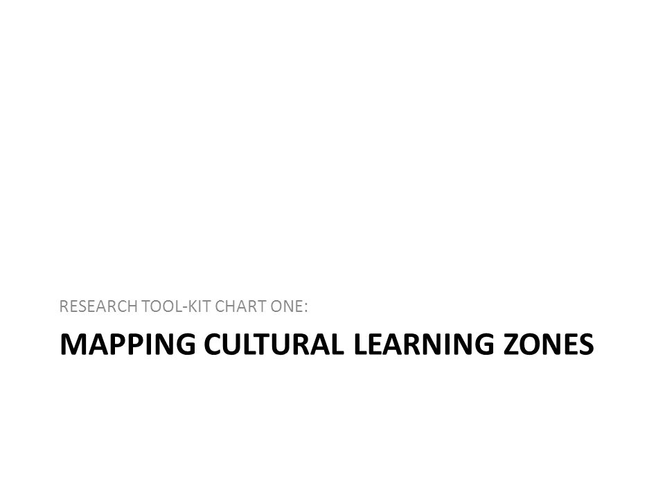 MAPPING CULTURAL LEARNING ZONES RESEARCH TOOL-KIT CHART ONE: