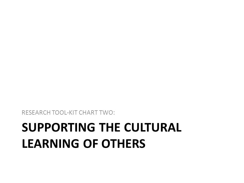 SUPPORTING THE CULTURAL LEARNING OF OTHERS RESEARCH TOOL-KIT CHART TWO: