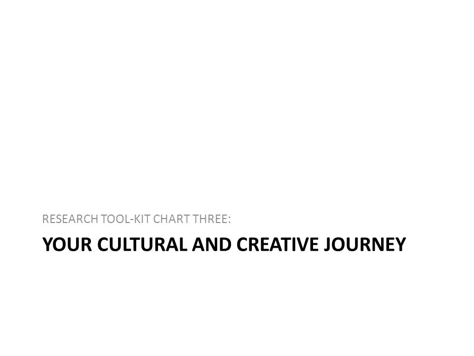 YOUR CULTURAL AND CREATIVE JOURNEY RESEARCH TOOL-KIT CHART THREE: