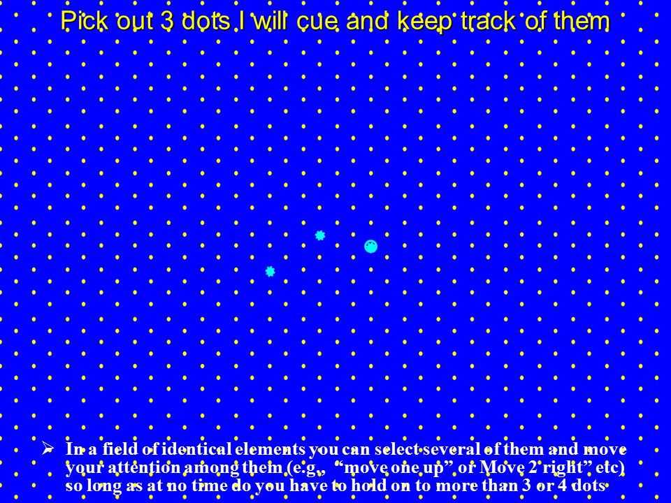 Pick out 3 dots I will cue and keep track of them  In a field of identical elements you can select several of them and move your attention among them (e.g., move one up or Move 2 right etc) so long as at no time do you have to hold on to more than 3 or 4 dots