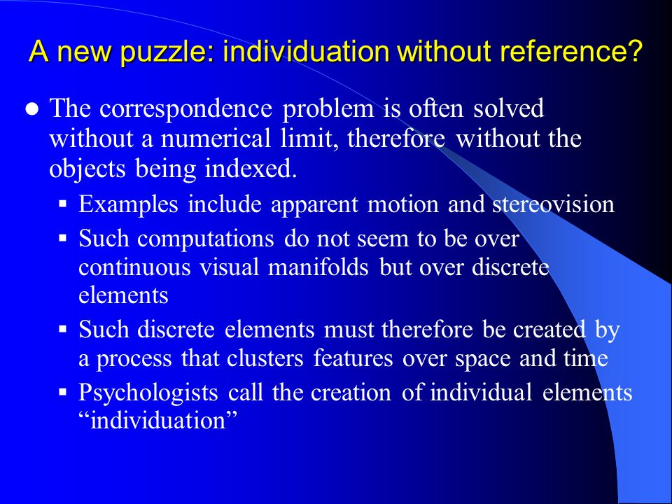 A new puzzle: individuation without reference.