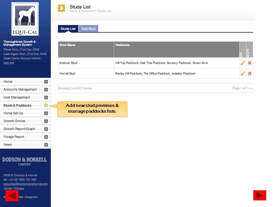 Add new stud premises & manage paddocks lists.