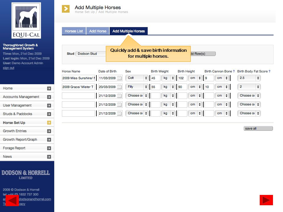 Quickly add & save birth information for multiple horses.