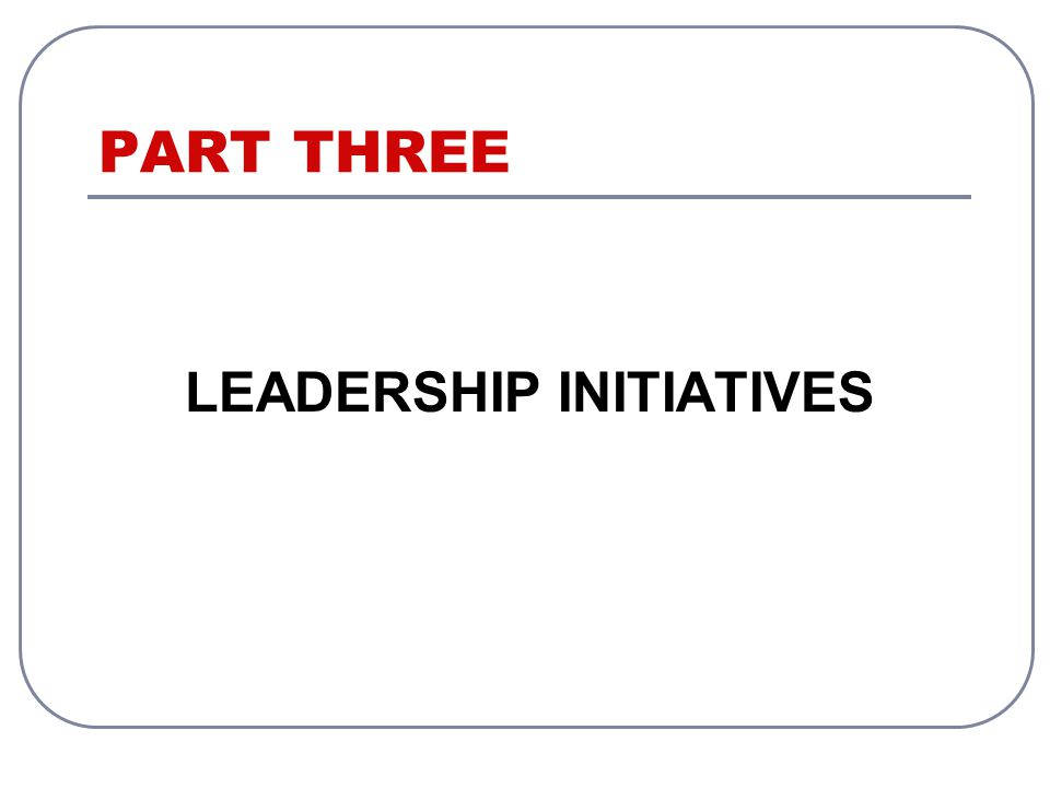 PART THREE LEADERSHIP INITIATIVES