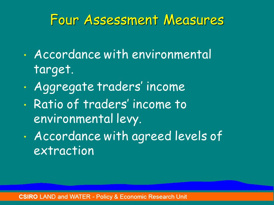 CSIRO LAND and WATER - Policy & Economic Research Unit Four Assessment Measures Accordance with environmental target. Aggregate traders' income Ratio
