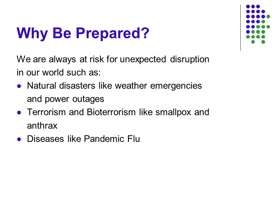 Pandemics Unlike other disasters that may be confined to a specific area and be of limited duration, a pandemic is unique because of its global impact and long duration.