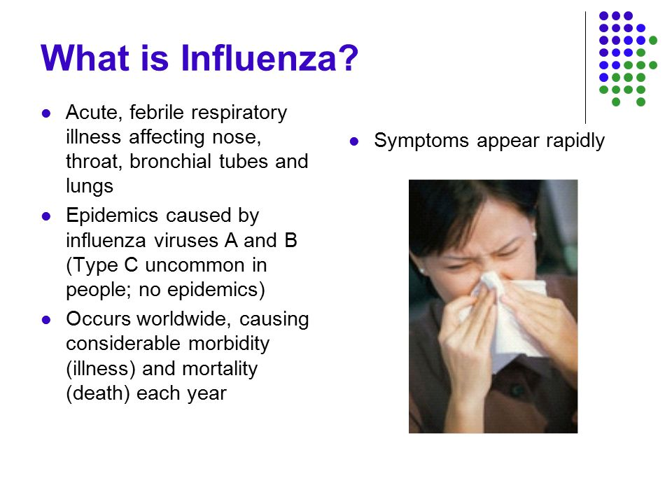 Influenza Symptoms Fever, dry cough, sore throat, muscle aches/pain, headache, lack of energy, possibly runny nose Fever and body aches for 3-5 days Cough and lack of energy - 2 weeks Symptoms similar to other upper respiratory diseases such as adenovirus, rhinovirus, parainfluenza, legionellosis, etc.