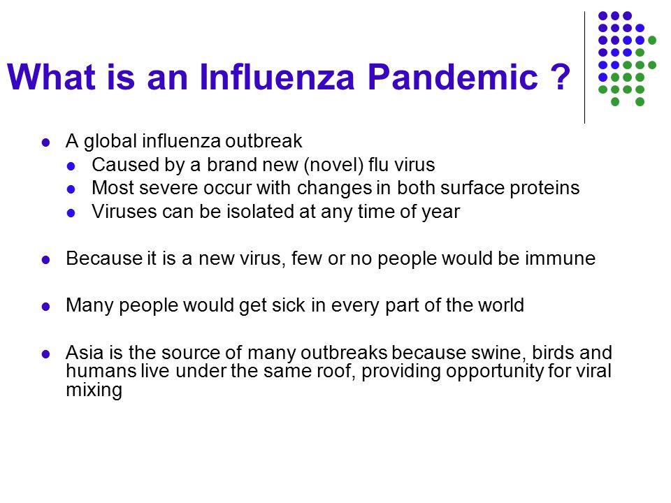 Influenza Pandemics 20 th Century A(H1N1)A(H2N2)A(H3N2) 1918: Spanish Flu 1957: Asian Flu 1968: Hong Kong Flu 20-40 m deaths 675,000 US deaths 1-4 m deaths 70,000 US deaths 1-4 m deaths 34,000 US deaths Credit: US National Museum of Health and Medicine