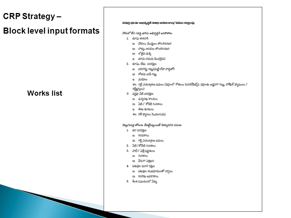 CRP Strategy – Block level input formats Works list