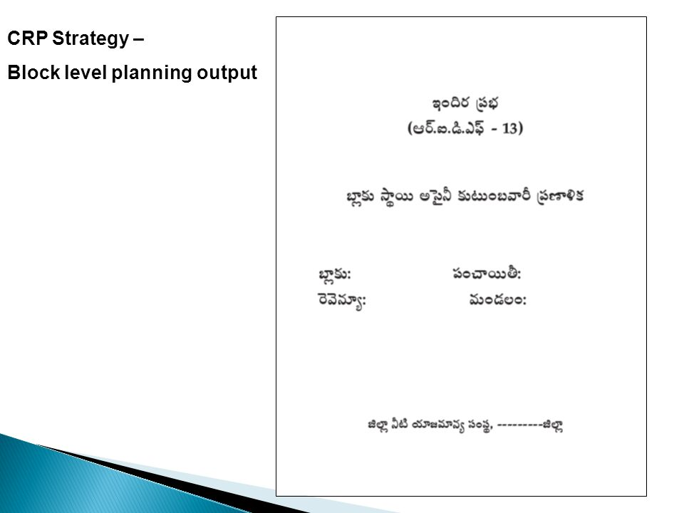 CRP Strategy – Block level planning output