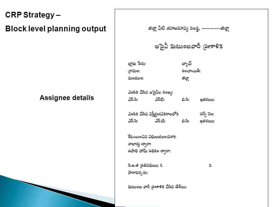 CRP Strategy – Block level planning output Assignee details