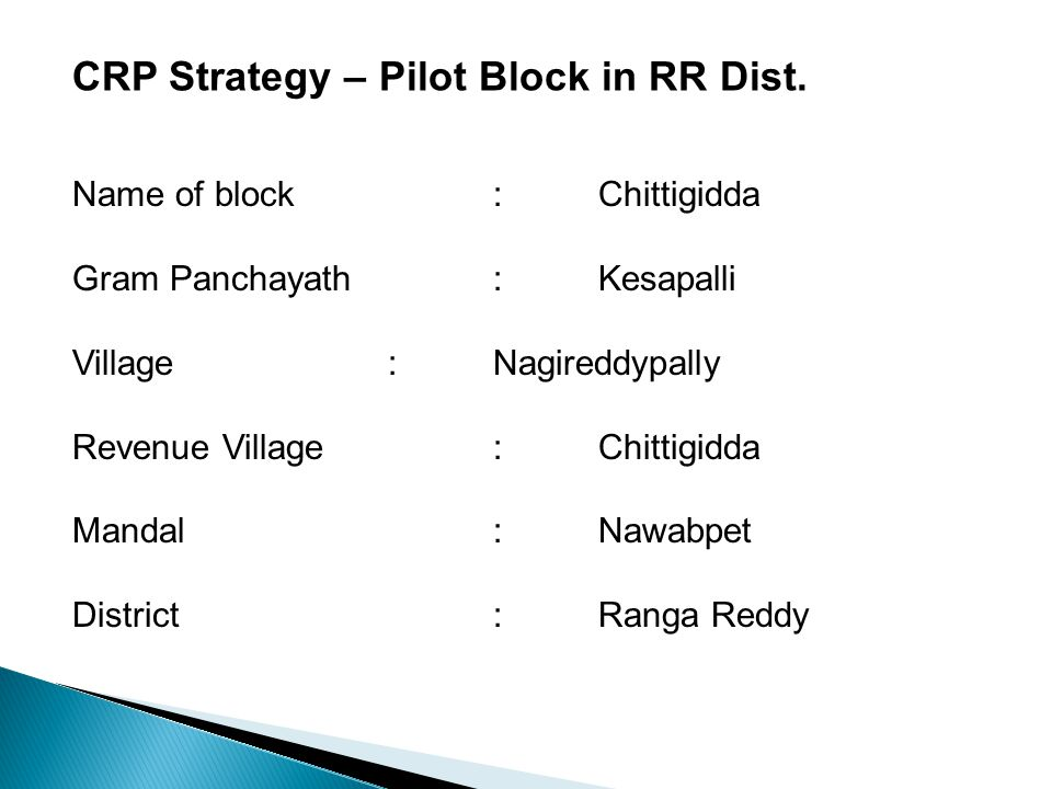 CRP Strategy – Pilot Block in RR Dist. Name of block: Chittigidda Gram Panchayath: Kesapalli Village:Nagireddypally Revenue Village:Chittigidda Mandal