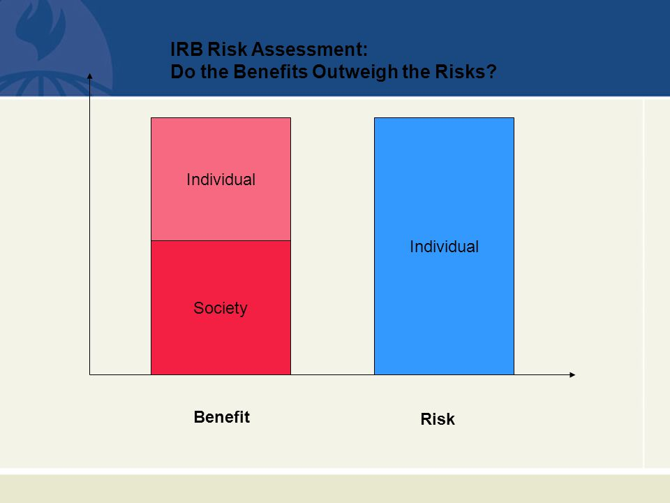 Individual Risk Benefit Society IRB Risk Assessment: Do the Benefits Outweigh the Risks Individual