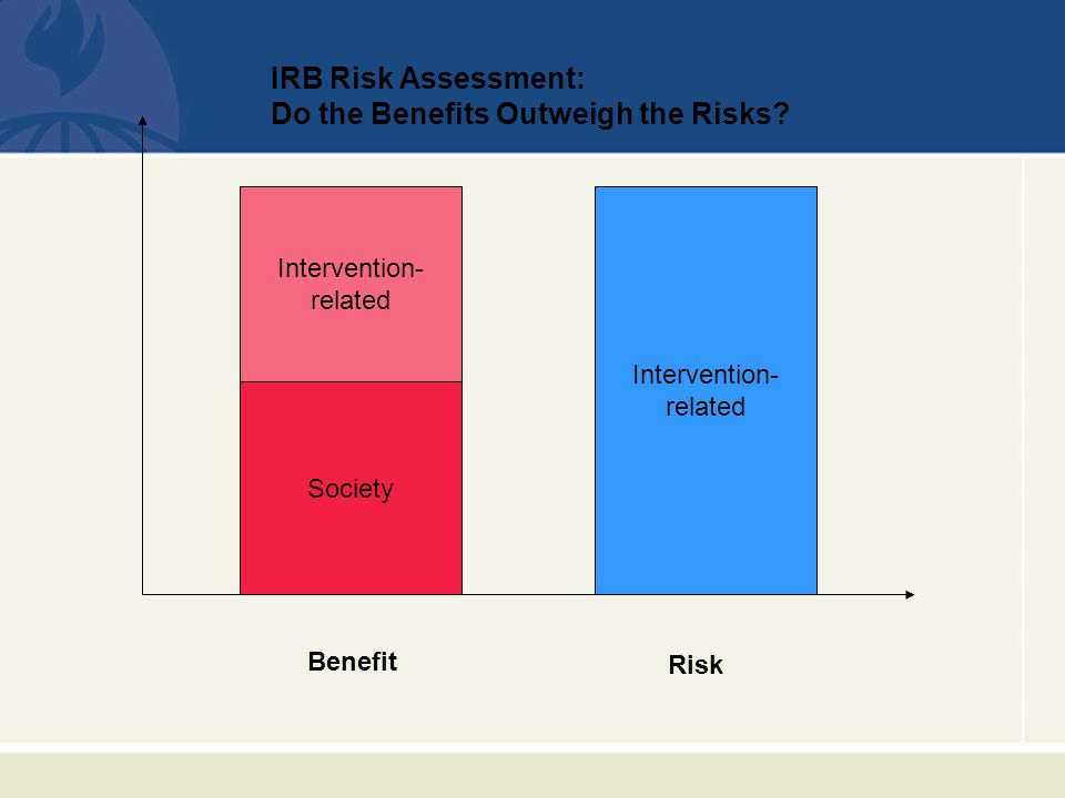 Intervention- related Risk Benefit Society IRB Risk Assessment: Do the Benefits Outweigh the Risks.