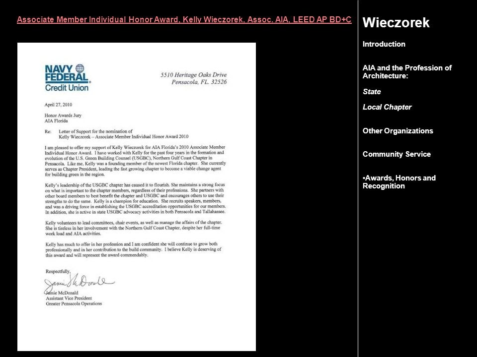 Wieczorek Associate Member Individual Honor Award, Kelly Wieczorek, Assoc.