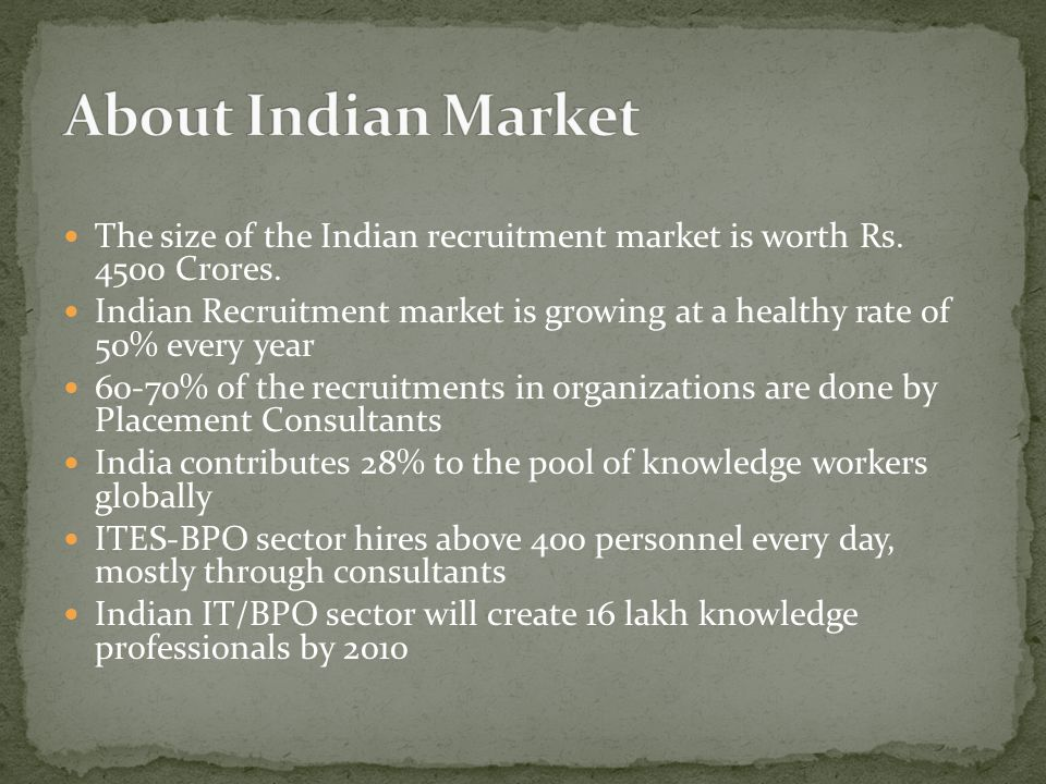 The size of the Indian recruitment market is worth Rs.