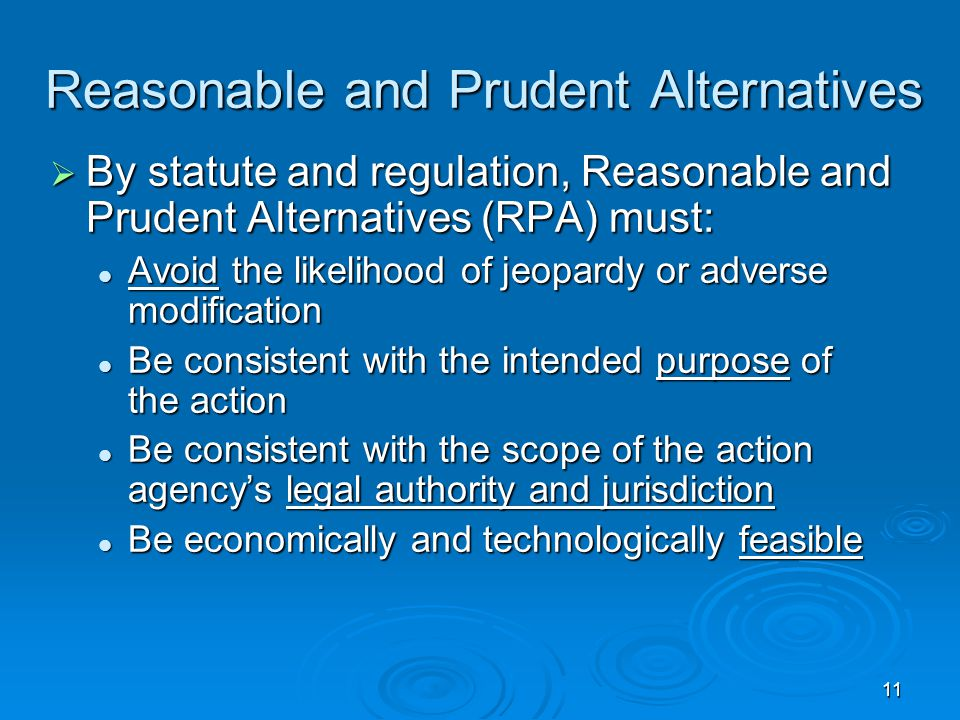 11 Reasonable and Prudent Alternatives  By statute and regulation, Reasonable and Prudent Alternatives (RPA) must: Avoid the likelihood of jeopardy or adverse modification Avoid the likelihood of jeopardy or adverse modification Be consistent with the intended purpose of the action Be consistent with the intended purpose of the action Be consistent with the scope of the action agency's legal authority and jurisdiction Be consistent with the scope of the action agency's legal authority and jurisdiction Be economically and technologically feasible Be economically and technologically feasible