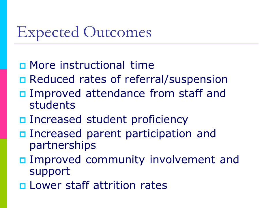 Expected Outcomes  More instructional time  Reduced rates of referral/suspension  Improved attendance from staff and students  Increased student proficiency  Increased parent participation and partnerships  Improved community involvement and support  Lower staff attrition rates