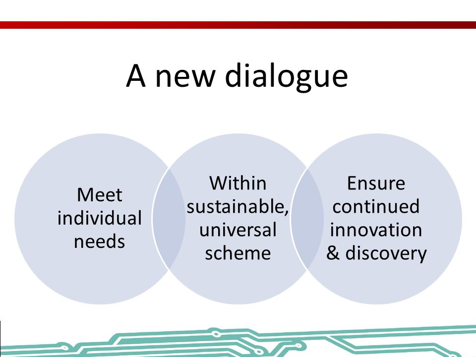 A new dialogue Meet individual needs Within sustainable, universal scheme Ensure continued innovation & discovery