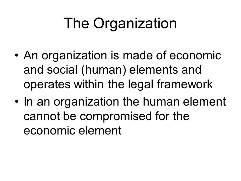 The Organization An organization is made of economic and social (human) elements and operates within the legal framework In an organization the human