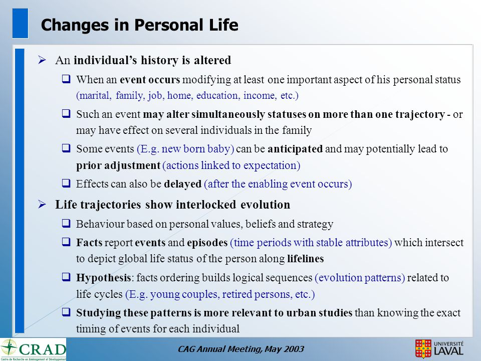 CAG Annual Meeting, May 2003 Changes in Personal Life  An individual's history is altered  When an event occurs modifying at least one important aspect of his personal status (marital, family, job, home, education, income, etc.)  Such an event may alter simultaneously statuses on more than one trajectory - or may have effect on several individuals in the family  Some events (E.g.
