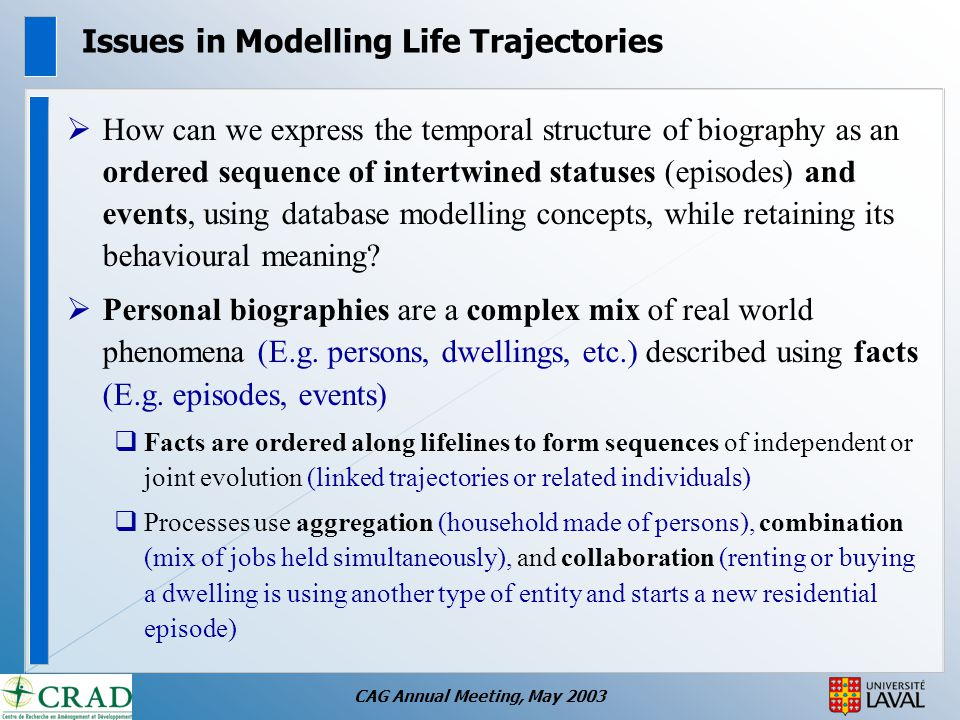 CAG Annual Meeting, May 2003 Issues in Modelling Life Trajectories  How can we express the temporal structure of biography as an ordered sequence of intertwined statuses (episodes) and events, using database modelling concepts, while retaining its behavioural meaning.