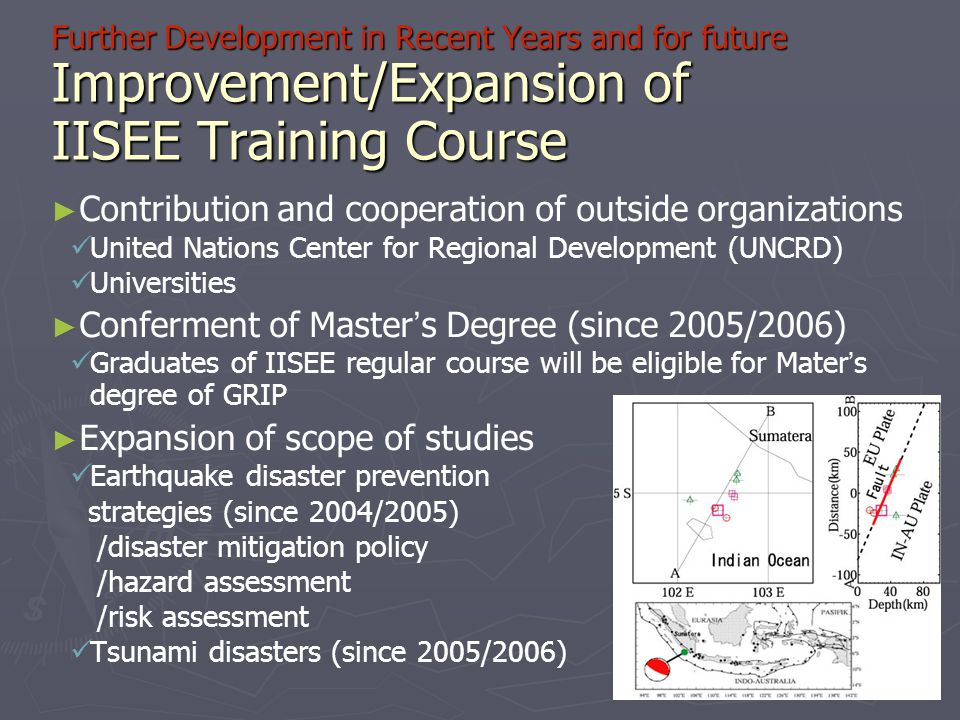 Further Development in Recent Years and for future Improvement/Expansion of IISEE Training Course ► ► Contribution and cooperation of outside organiza