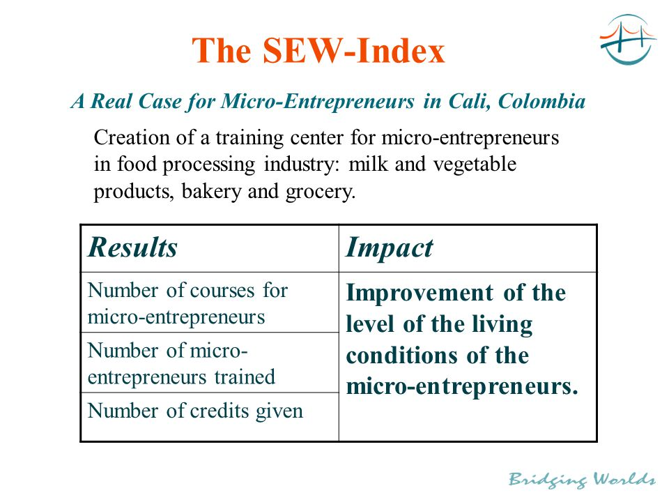 The SEW-Index A Real Case for Micro-Entrepreneurs in Cali, Colombia ResultsImpact Number of courses for micro-entrepreneurs Improvement of the level of the living conditions of the micro-entrepreneurs.