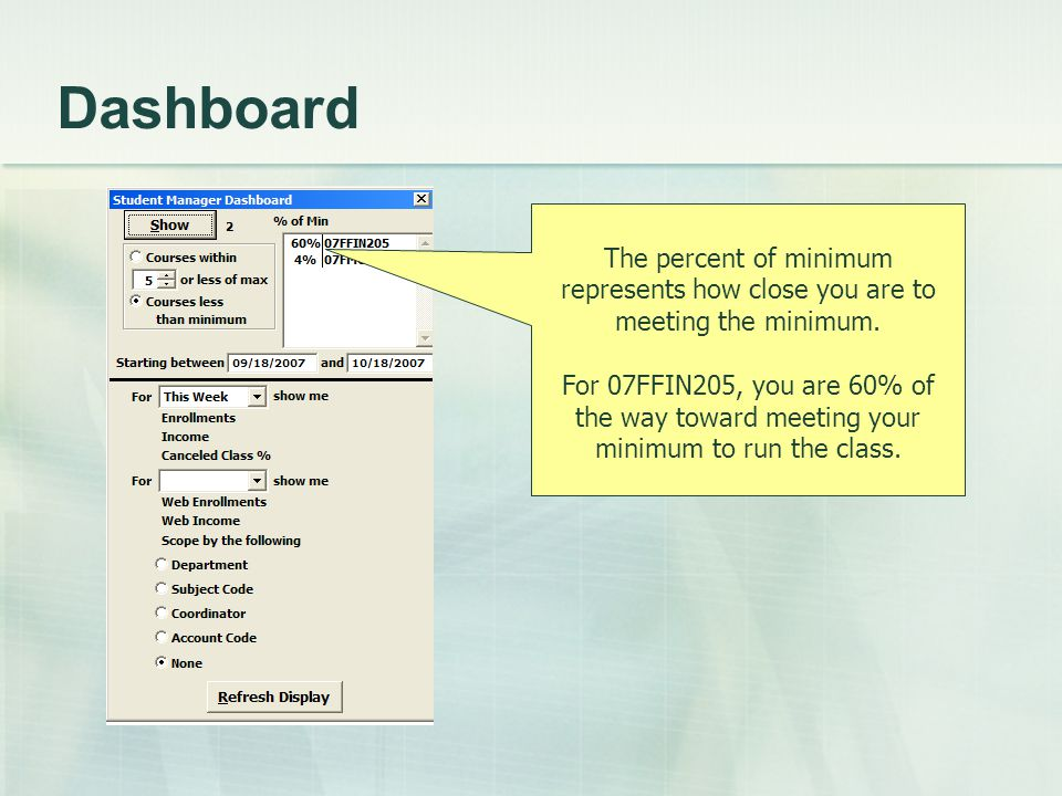 Dashboard The percent of minimum represents how close you are to meeting the minimum. For 07FFIN205, you are 60% of the way toward meeting your minimu